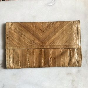 Vintage 70s eel skin clutch beige tan